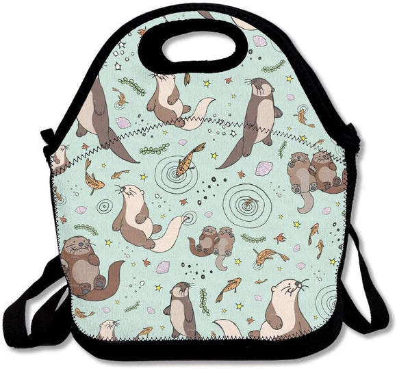 Otter Pattern Bento Bag Lunchbox Handbag For Men Women Adult Kids Boys Girls