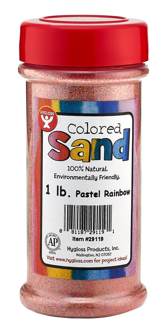 Hygloss Products Colored Play Sand - Assorted Colorful Craft Art Bucket O' Sand, Pastel Rainbow, 1 Lb