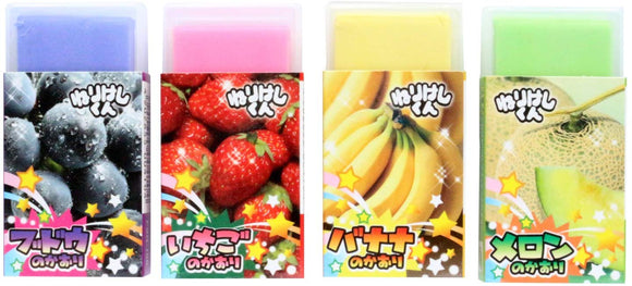 Fabulous Scented Putty Erasers Set Of 4 (-Strawberry-Banana-Melon-Blueberry-) Made In Japan