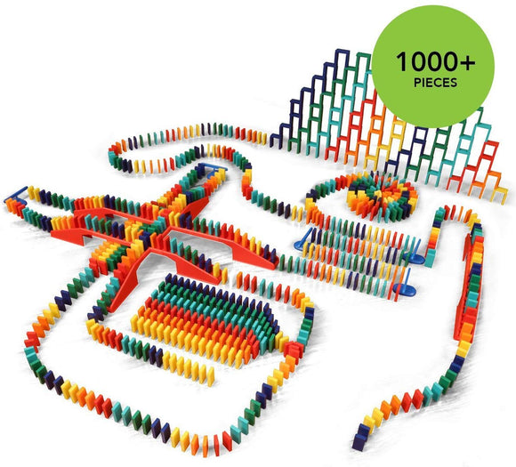 Bulk Dominoes 1020Pcs Pro-Scale, Premium Stacking & Toppling Domino Set. Chain Reaction Steam Building Toy Set.