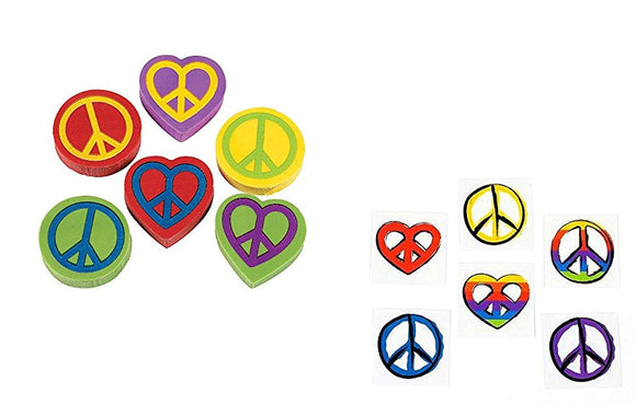 Peace Sign Party Favors (96Pce) Tattoos & Erasers - Sixties Seventies Theme - Hippie Retro - Classroom Giveaways