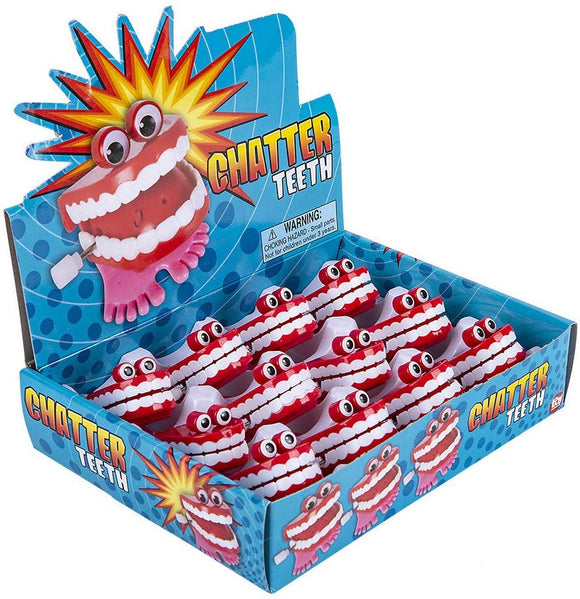 1 Dozen Novelty Chattering Chomping Mini Wind Up Toy Walking Teeth With Eyes
