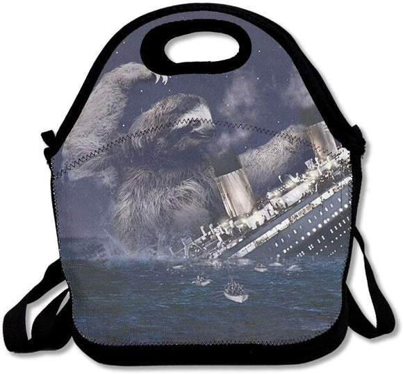 Jcchen Sloth Sinking Titanic Lunch Bag Tote Soft Lunch Box Reusable Insulated Handbag For Women,Girls,Kids