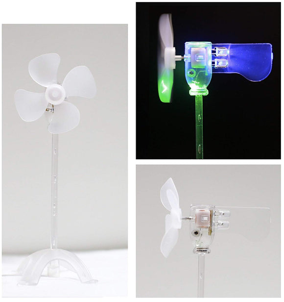 Smallest Led Windmill, Wind Power Experimental Model, Suitable For Energy Conservation Educational Experiment, Cultivate Free Research And Imagination, Used As Fun Toy Or Ornament (Green & Blue)