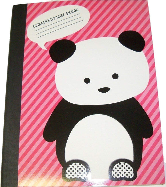 Studio C Carolina Pad Wide Ruled Composition Book ~ The Hair Of The Dog Collection (Panda On Pink Stripes; 7.5
