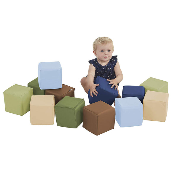 Ecr4Kids Softzone Patchwork Toddler Block Playset, Gentle Foam Blocks For Safe Active Play And Building, Built To Last, Certified And Safe, 12-Piece Set, Earthtone