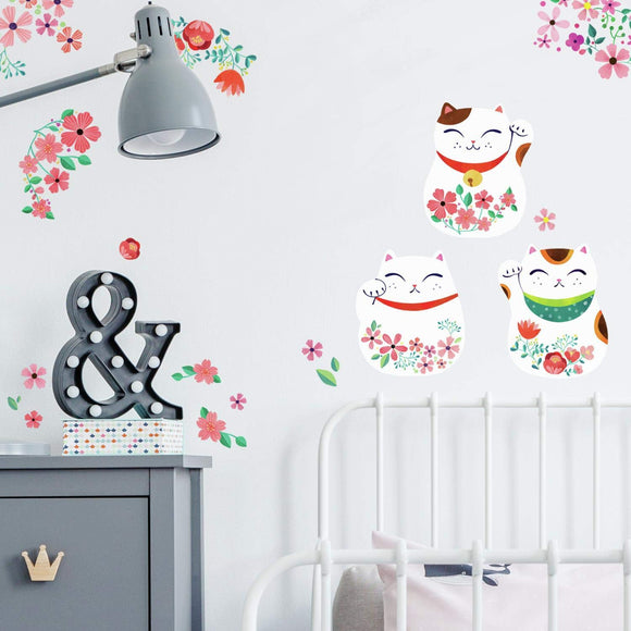 Roommates Lucky Cat Peel And Stick Wall Decals