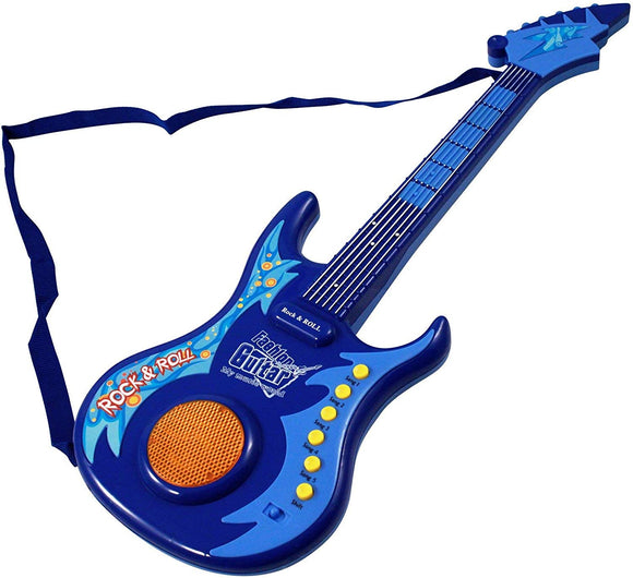 Kid Fun Guitar Star Led Pretend Play Light-Up Rock Band Musical Instrument Toy- Blue