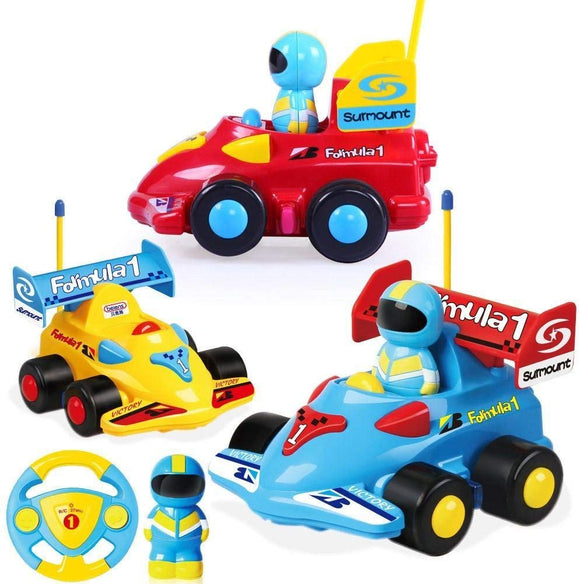 Powertrc Cartoon Remote Control Cars Radio Remote Control With Music And Sound | Red, Blue And Yellow Toy For Baby Kids And Children Cars, Kids, Boys And Girls