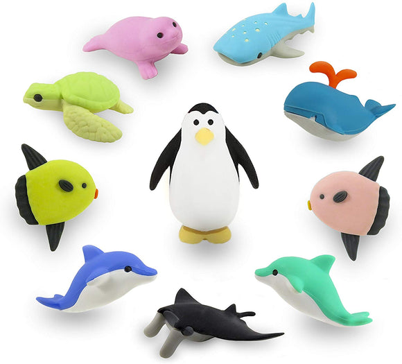 Ocean Adventure Kawaii Japanese Mini Puzzle Erasers Novelty Collectibles Party Favors School Supplies