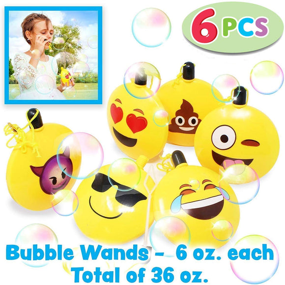 6 Bubble Wands Emoji (36 Oz.Total) Bulk Bubble Bottles With 6 Emotions, Super Value Party Supplies Favors, Toys Gifts For Kids, Birthday Party, School Classroom Rewards, Easter Basket Stuffers.