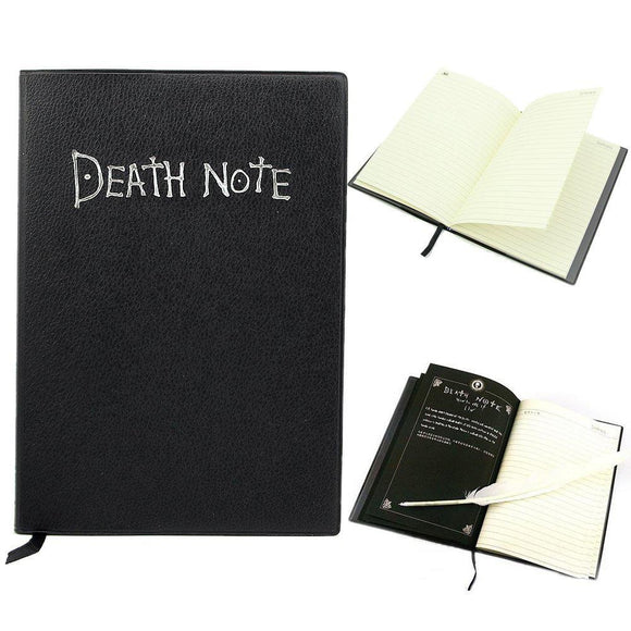 Tqiu Anime Theme Note Book Death Botebook Cosplay Notebook New School Large Writing Journal 20.5Cm14.5Cm + Gift Pen Material: Feather