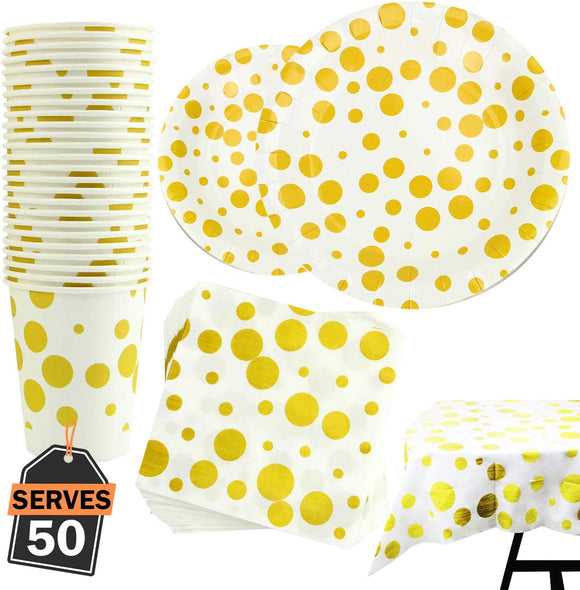 Party Supply Set, Including Plates, Cups, Napkins And Tablecloth (Polka Dot)