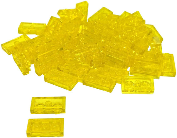 Lego Parts And Pieces: Transparent Yellow 1X2 Plate X50