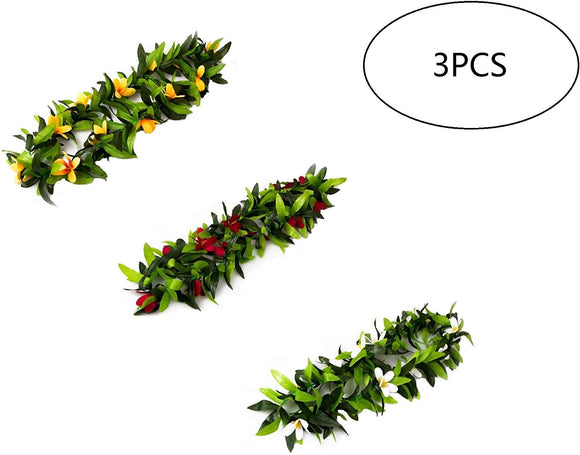 3Pcs Tropical Hawaiian Luau Lei Green Leaves For Hawaiian Luau Party Favors