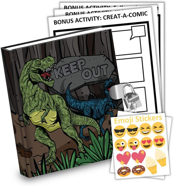 Dinosaur T-Rex Dino Kids Diary With Lock Includes 6.5 Inch Diary, Stickers, & Bonus Activity Pages