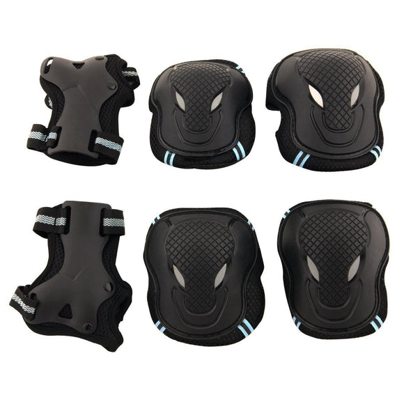 Adult / Child Skateboard Roller Skating Elbow Knee Wrist Protective Safety Gear Pad Guard 6Pcs Set Blue Size Large