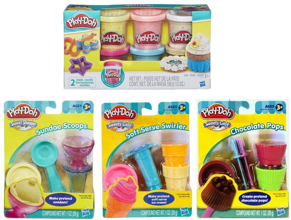 Play-Doh Sweet Shoppe Mini Tools Bundle + Play-Doh Confetti Compound - Bundle Of 4 Items