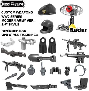 "Koolfigure&Trade; Custom Camouflage Weapons Set Designed For Minifigures Toys, 2.5"" Scale Helmet, Machine Guns For Military Soldier Figurines, Building Bricks Blocks Accessories, Modern Army Ver.02"