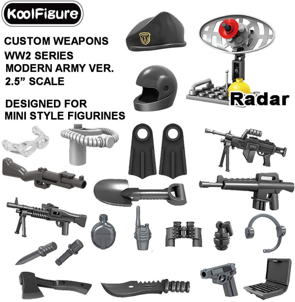 Koolfigure&Trade; Custom Camouflage Weapons Set Designed For Minifigures Toys, 2.5