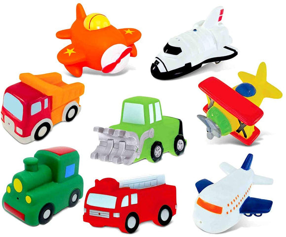 Dollibu Bath Buddies Vehicles Rubber Squirter Toys - Bulldozer, Dump Truck, Train, Fire Truck, Planes, Space Shuttle - 3 Inch - For Baths, Pool, Outdoor - Baby Bathtime Learning (8Pc Set)