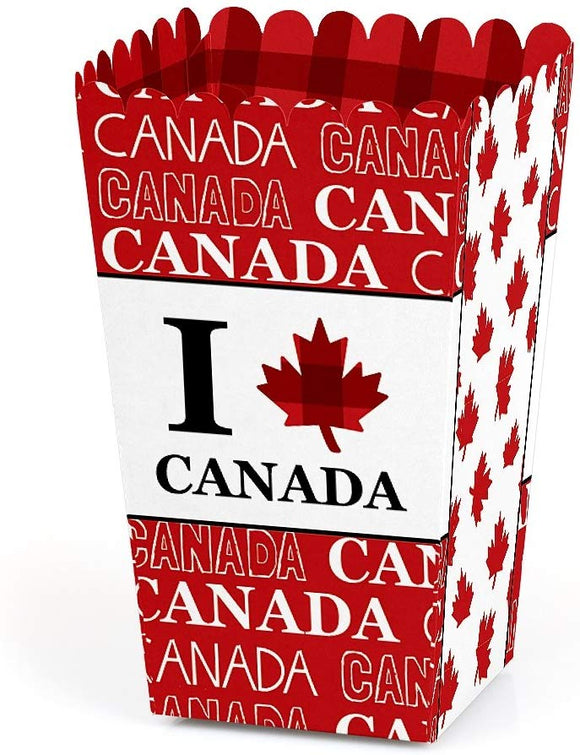 Canada Day - Canadian Party Favor Popcorn Treat Boxes - Set Of 12