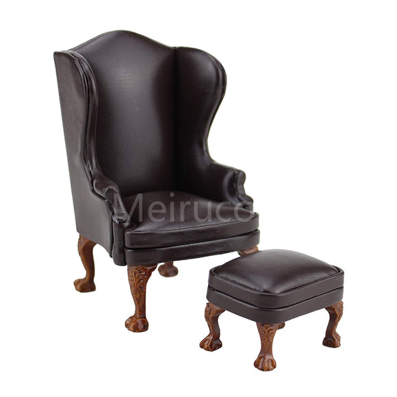 Dollshouse 1/12 Scale Miniature Furniture Wing Chair And Ottoman Brown