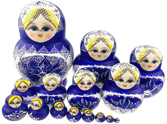Unigift Set Of 15 Cute Blonde Girl With Big Belly Blue And White Flowers Handmade Wooden Russian Nesting Dolls Matryoshka For Kids Toy Birthday Christmas New Year Gift Home Decoration
