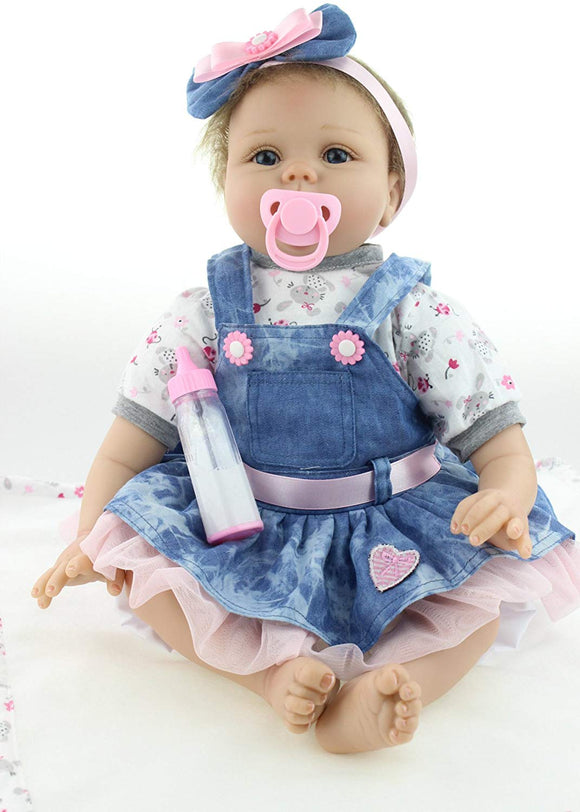 Npkdolls Reborn Baby Doll Girl Soft Silicone Vinyl Reborn Doll Realistic 22Inch 55Cm Weighted Vniyl Silicone Baby Doll Lifelike Cute Baby Girl Toy Cowboy Dress Doll For Ages 3+