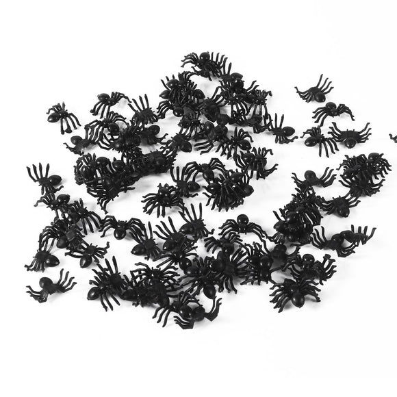 Garosa 150Pcs Fake Spider Toys Small Black Simulated Insect Prank Toy Joke Fools' Day Halloween Funny Joke Prank Realistic Props Party Supplies