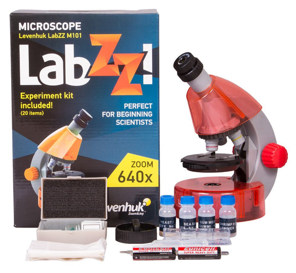 Levenhuk Labzz M101 Orange Microscope For Kids With Experiment Kit  Choose Your Favorite Color