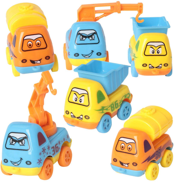 Sets Of 6 Pull Back Vehicles Toys Push And Go Friction Powered Car Toys Tractor Bulldozer Mixer Truck And Dumper