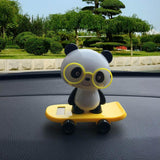 Solar Powered Dancing Figures, Transer Solar Powered Dancing Panda Swinging Animated Bobble Dancer Toy Car Decor (Yellow)