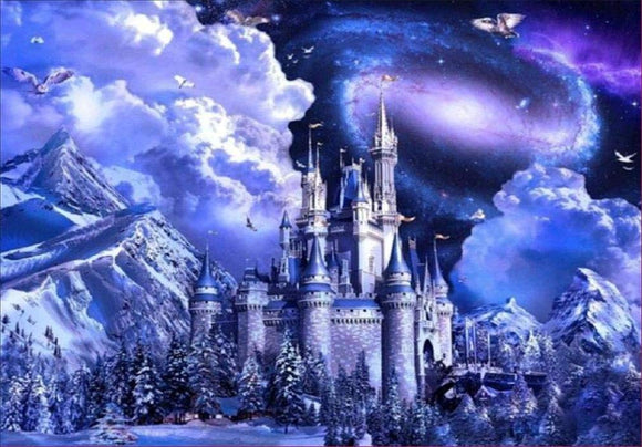 Yeefant Castle In The Mountains Embroidery Paintings No Fading 5D Canvas Rhinestone Pasted Diy Diamond Cross Stitch Home Wall Decor For Bedroom Living Room,16X12 Inch