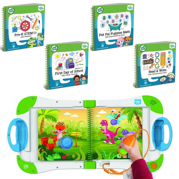 Leapfrog Leapstart Preschool, Pre-Kindergarten Interactive Learning System For Kids Level 2 Ages 2-4 With Junior Activity Books: Stem, Math, Read & Write & First Day School Fun Activity Bundle