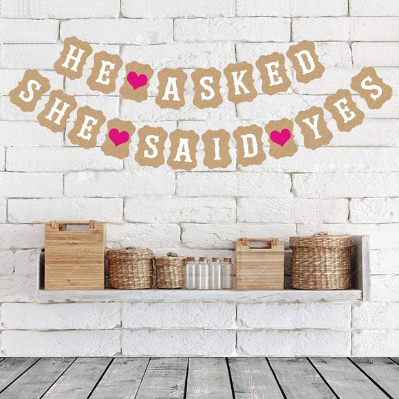 Luoem Wedding Bunting Banner Engaged Burlap Banners Wedding Party Decorations For Bridal Shower Party (Brown)