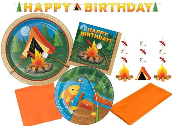 Camp Out Happy Birthday Party Supplies Kit & Camping Themed Decorations