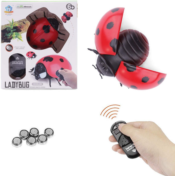 Unetox Infrared Remote Control Bugs Rc Insects Prank Toy Joke Scary Bugs Trick Toys For Party (Ladybug)