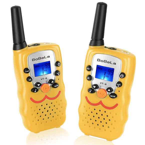 Bobela  Fcc-Two-Way-Radio With Smiley Face As Funny Gifts, Child-Wakie-Talkies 3-Mile Range 22-Channels Built-In Flashlight Loud Speaker Button Lock Lcd Display (Yellow Vt8)