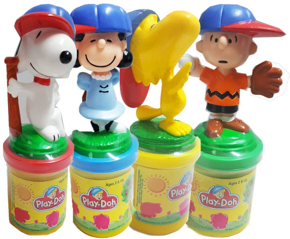 Peanuts Snoopy & Friends Play-Doh Stampers Baseball Players Team Set Of 4 - Snoopy, Woodstock, Charlie Brown, Lucy