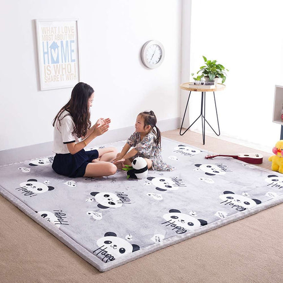 Grey Panda Cartoon Carpet Rug For Baby Boys Girls Infant Toddler, Foam Play Crawling Rug Non Slip Modern Rugs For Living Room, Playroom, Classroom, Nursery And Dormitor Thickness:2Cm, 32 By 79 Inch