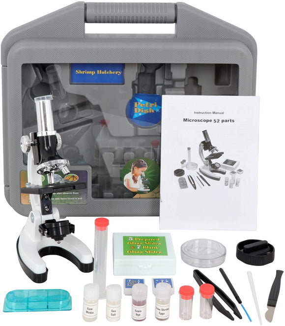F2C 52-Piece Biology Kids Microscope Student Beginners Science Educational Toy Microscope Kits White Metal Frame W/ Led Light Magnifications 100X, 600X, And 1200X