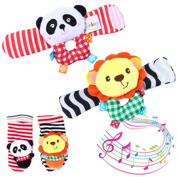Goaply Baby Rattle,Baby Wrist Rattles And Foot Finder Set Sock Toys[4 Pcs],Developmental Soft Animal Rattles Infant Baby Toys,Educational Development Soft Animal Toy Shower Gift( Lion And Panda)
