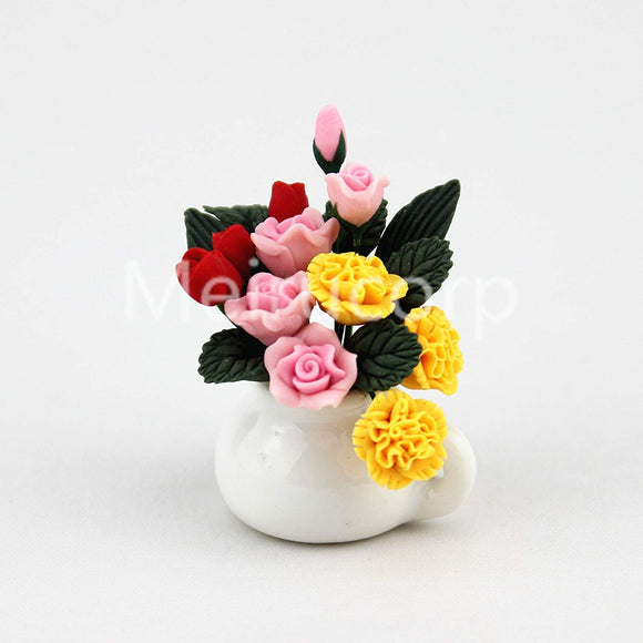Meirucorp 1:12 Scale Doll House Decorate Handmade Clay Model Yellow And Pink Floral Art 12104