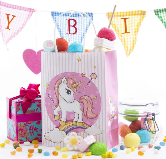 Unicorn Kids Birthday Favor Party Bags, For Favors, Gifts, Goodies, Candy And Treats! Decoracion De Unicornio Para Cumpleaos! Cute And Unique Design On All 4 Sides!