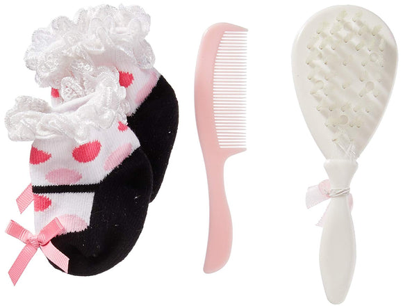 Stephan Baby Brush, Comb And Bootie Socks Gift Set, Pink Gingham