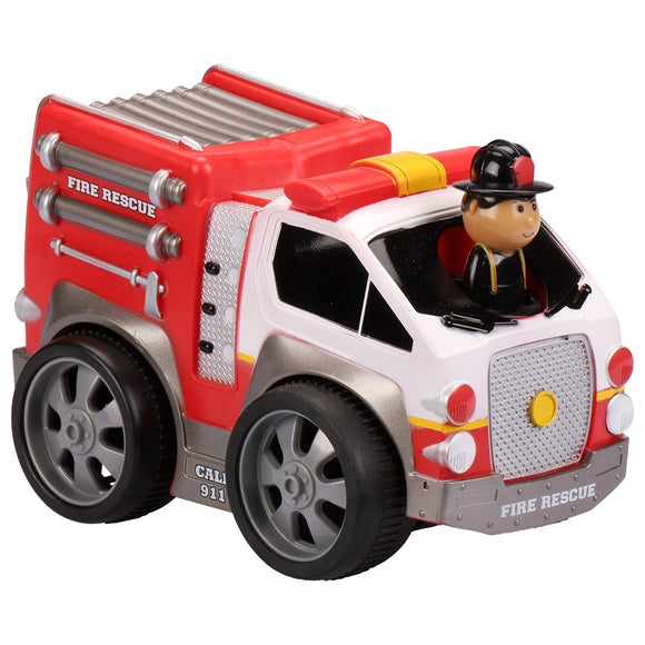 Kid Galaxy Soft Pull Back Fire Truck Toddler Car Wind Up Toy For Boys And Girls Age 18 Months+, Red, 7