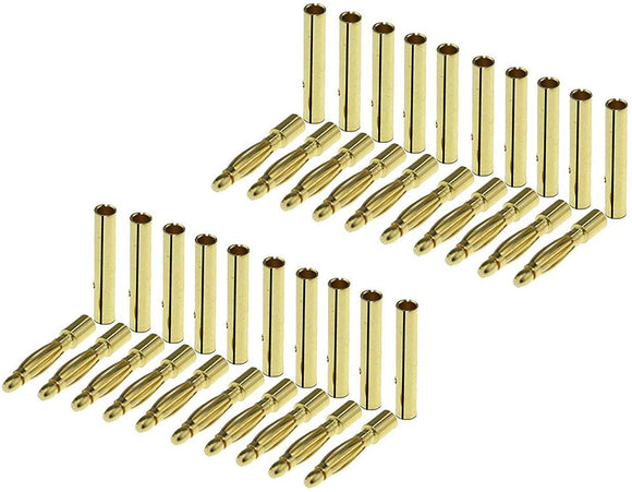 Karcy 20 Pairs 2Mm Gold Plated Male & Female Bullet Banana Plug Connector Kit (2Mm)