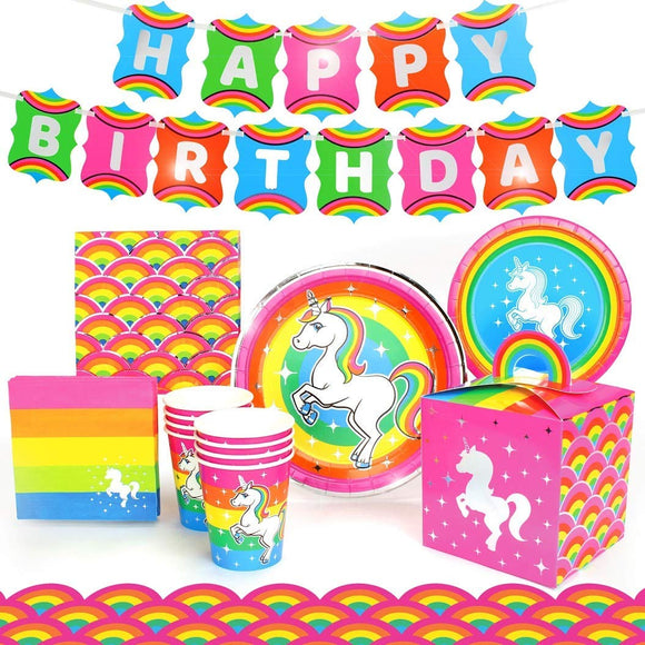 Rainbow Unicorn Party Supplies Decorations, (Deluxe) Birthday Party Pack Includes A 74 Piece Set (Unicorn Birthday Decoration For 8 Guests), Birthday Supplies By Prime Party