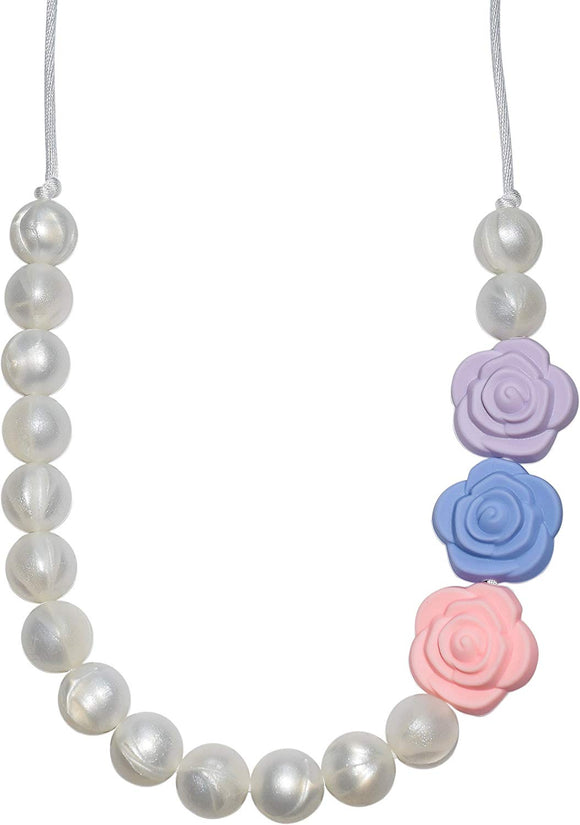 Munchables Pearl Roses Chewable Necklace For Girls - Sensory Chew Necklace (Multi-Color)